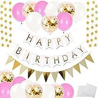 誕生日 装飾 飾り付け 風船 バースデー デコレーション セット HAPPY BIRTHDAY ガーランド スター フラッグ紙吹雪入れ バルーン パーティー お祝い(ピンク、ゴールデン、ホワイト)J024