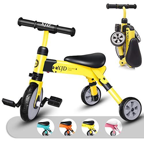 キッズ 三輪車 2 in 1 三輪車 2歳 子供用 折り畳み式 持ち運び易い T型ハンドル 2-4歳幼児に向け 誕生日プレゼントに最適 アウトドア&室内兼用(イエロー)