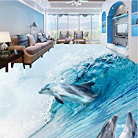 Lixiaoer カスタム写真床の壁紙3Dステレオイルカ海の世界の浴室のリビングルームの床のペイント自己接着壁紙-250X175Cm