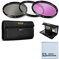 Vivitar 77Mm高解像度ProシリーズマルチコーティングHD 3PC。デジタルフィルタセットfor Nikon af-s Nikkor 70–200mm f / 2.8g Ed Vr Iiレンズ、af-s Nikkor 28–300mm f / 3.5–5.6G ED VRズームレンズ、10–24mm f / 3.5–4.5G ED af-s DX Zoom - Nikkorレンズ、af-s Nikkor 80–400mm f / 4.5–5.6G ED VRレンズand Moreモデル+ eCostマイクロファイバー布