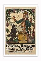 ブルゴーニュワイン、フランス - ワインメーカーHenri deBah?zre - ビンテージな広告ポスター によって作成された ガイ・アルヌー c.1916 - アートポスター - 31cm x 46cm