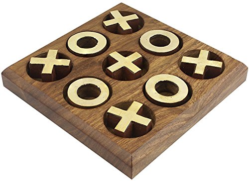 skavij Tic Tac Toe旅行ファミリボードゲーム木製ハンドメイド4.5X 4.5インチ