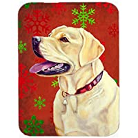 Carolines Treasures LH9338LCB Labrador Red And Green Snowflakes Holiday Christmas Glass Cutting Board - Large