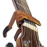 BSmusicカポタスト、ワンタッチ ギター カポ タスト、ウクレレ、エレキギター、弦楽器など用 (ウッドカラー)