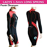 展示品の為 Fourth Dimension LADY'S WET LONG SPRING ウェット ロングスプリング  長袖半ズボンタイプ (ブラックxオレンジ, LADY'S S)