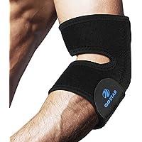 テニス肘(ゴルフ肘)サポーターQGSTAR調節可能な通気性のあるネオプレン肘サポートバンド 野球テニスゴルフなどの肘スポーツの保護