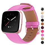 Mosstek Genuine Leather Bands Compatible with Fitbit Versa 2 & Versa 1 & Versa Lite & Versa Special, Genuine Leather Band Replacement Strap for Versa Women Men - Pink