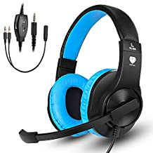 BUTFULAKE Stereo Gaming Headset for PS4, Xbox One, Nintendo Switch, Adjustable Earmuffs and Over-All Noise Isolation, Lightweight 3.5mm Wired Volume Control with Mic for Laptop PC (Black-Blue)
