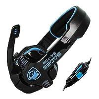 SADES SA-708 Stereo Gaming Headphone Headset with Microphone (Blue) [並行輸入品]