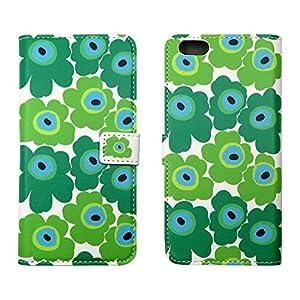 HANARO iPhone6Plus/6sPlusケース 手帳型 北欧風 花柄 横開き カードポケット付き グリーン i6-012-1-7