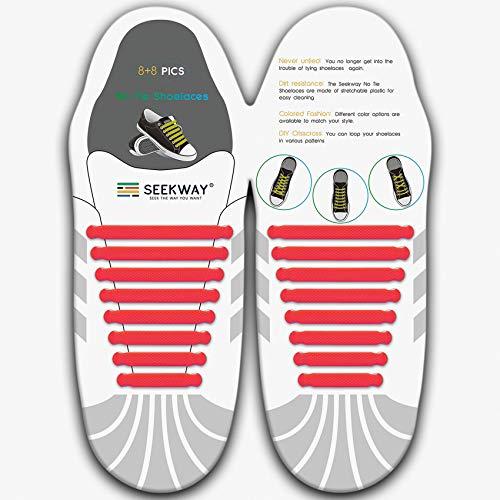 [SEEKWAY] 靴紐 結ばない ゴム 靴ひも 伸縮 靴紐 メンズ レディース用 ほとけない 靴ひも ほどけない 16pcs 10カラー NTS001 (レッド)