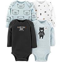 Carter's Baby Boys 4 Pack Bodysuit Set, Baby Bear, 9 Months