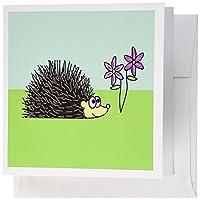 Janna Salak Designs Smallペット–ハリネズミとパープル花–グリーティングカード Set of 12 Greeting Cards