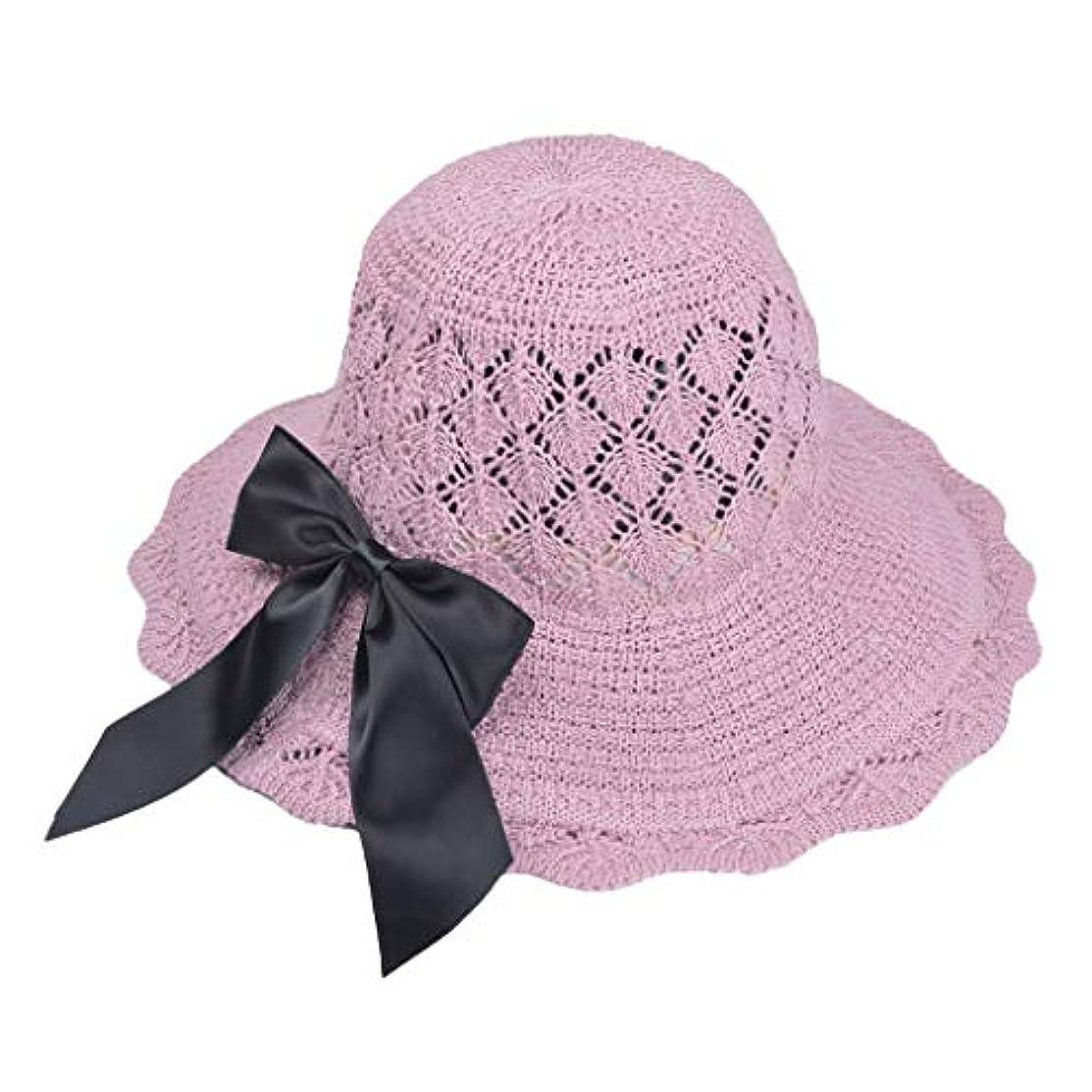 反発するミトン備品帽子 ハット 女性のつば広フロッピー折り畳み式弓結び目固体夏太陽ビーチ帽子