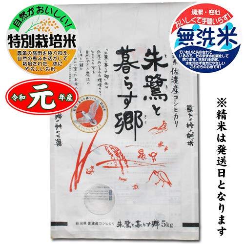 新潟県佐渡市 特別栽培米 コシヒカリ 「朱鷺と暮らす郷」 白米5kg[無洗米加工] 令和元年産