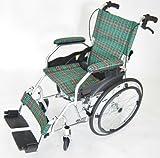 モスキー グリーンチェック 重量11.5kgの超軽量自走式車椅子!  アルミ 車椅子 脚部エレべーティング ノーパンクタイヤ 背折れ式 シートベルト付き【A103-AKG】