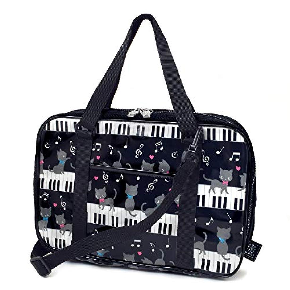 置き場子犬そのような書道セット 習字セット?呉竹 ピアノの上で踊る黒猫ワルツ(ブラック) N2200810