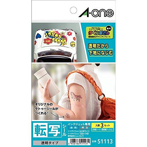 RoomClip商品情報 - エーワン 転写 タトゥーシール 透明 3シート 51113