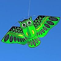 Manyao 子供のための新しい漫画のフクロウ飛ぶ凧成人屋外のおもちゃスポーツ玩具 (緑)