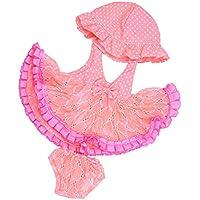 Dovewill 18 インチ アメリカ女の子人形対応  ドットドレス  パンツ  帽子 セット ファッション 人形 服