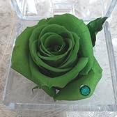5月 お誕生日プレゼントにも 人気商品 小さな贅沢 プリザーブドフラワースワロフスキークリスタル宝石箱ギフトBOXアレンジ E 深緑色の薔薇(エメラルド) 5月の誕生石 白ギフト箱にリボンラッピング)付 手提げ袋付 ミニアレンジ