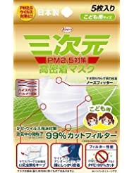 日亚:Kowa 三次元 高密着 儿童防PM2.5口罩 5个入 382日元
