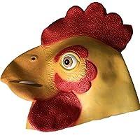 ゴム材質 大々鶏の頭打ち 大人の子供のマスク コスプレ かわいい ハロウィン 扮する 仮面
