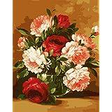 数字でDiy油絵、数字キットでペイント - ローズと牡丹の花16 * 20インチリネンキャンバス - 大人のためのデジタル油絵の壁アートアートワーク上級子供高齢者ジュニア