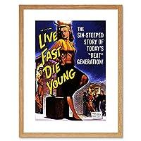 Movie Film Live Fast Die Young Crime Drama Beat Generation Art Framed Wall Art Print 映画膜若い犯罪ドラマ壁