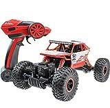 TAKUMI RCミニジープ 2.4Ghz 無線電動ラジコンカー 四輪駆動 高時速疾走 クイックレスポンス 子供おもちゃ ミニカー 1:18比例 28 x 16 x 15cm (2.4Ghz, 赤)