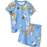 Unifriend Tシャツ 半ズボン パンツ ショート キッズ 男児 綿100% オーガニック ルームウェア パンツ ねまき 上下セット 宇宙探査 -160cm