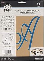 """(Script 6"""" 30/Pkg) - Plaid PLA50325 Stencil Folk-Art Paper Alphabet & Monogram Script, 15cm"""