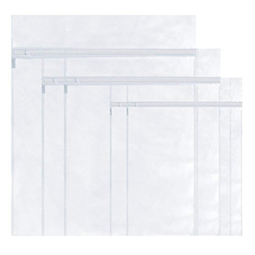 ベステクノ バッグ型洗濯ネット、ジップタイプ洗濯ネット5 枚入り(小型ネット×2、中型ネット×2、大型ネット×1) (細い/ホワイトファスナー)