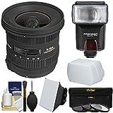 シグマ10–20mm F / 3.5EX DC HSMズームレンズとFlash +ソフトボックス+バウンスディフューザー+ 3フィルタキットfor Nikon DSLR Cameras
