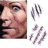 Dealglad 10pcs Horror Realistic Fake Bloody Wound Stitch Scar Scab Waterproof Temporary Tattoo Sticker Halloween Masquerade Prank Makeup Props [並行輸入品]