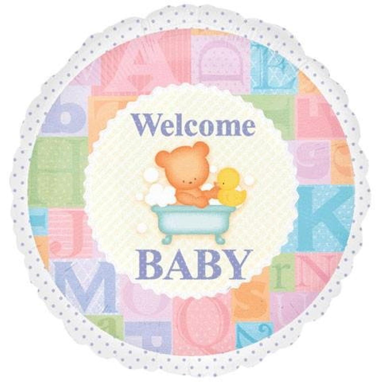 ベビーシャワー 44cm バルーン 女の子 Welcome Baby テディベア