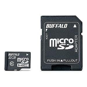 BUFFALO Class10 microSDHCカード SD変換アダプター 32GB RMSD-32GC10AB