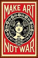ポスター オベイ Male Art Not War/Shepard Fairey 手書きサイン入り 額装品 ウッドハイグレードフレーム(ナチュラル)