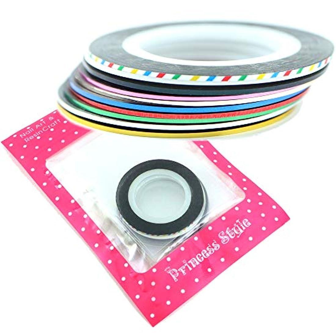 おっとねばねば帽子ネイル ラインテープ ネイルシール ジェルネイル ネイルアート用 1mm幅×20m巻 (新10色セット)