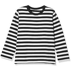 [ベルメゾン] 天竺長袖Tシャツ D24541 ガールズ ブラックボーダー 日本 130 (日本サイズ130 相当)