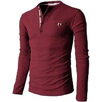 【H2H】 メンズ カジュアル ファッション ワッフル ヘンリー Tシャツ ポケット付き CMTTS0147