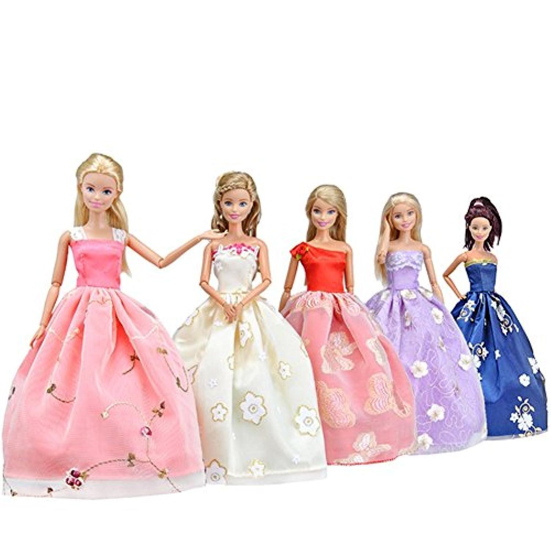 DSstyle 5個ハンドメイド人形Clothes印刷スイングスカートプリンセスドレスバービー人形のSuitable for 11.5インチ高さ人形andバービー人形。