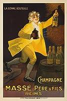 シャンパンMasseヴィンテージポスター(アーティスト: Auzolle )フランスC。1920 9 x 12 Art Print LANT-61881-9x12