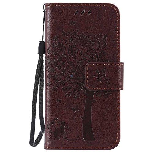 Galaxy S4 Mini ケース CUSKING 手帳型ケース PUレザー カードポケット全面保護 フリップ カバー 落下防止 衝撃吸収 財布型 ギャラクシ S4 Mini 対応 - ブラウン