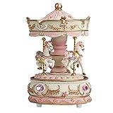 LUCOG メリーゴーランド 音楽ボックス オルゴール 回転木馬 天空の城 メロディー 家の装飾 PD-S-810-WH