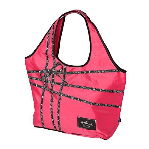 JOKnet ホールマーク リボン柄 折りたたみ キャリーオントートバッグ キャリーバッグ 折り畳み トラベルバッグ 旅行バッグ フライバッグ
