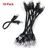 Ancable 10-PACK 6inch CAT5e UTP Ethernet RJ45 Full 8-Wire Black Patch Cable