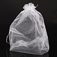 PEPPERLONELY Brand 50PC Organza Drawable Wedding Gift Bags & Pouches White 30cm x 20cm (11-6/8 x7 7/8 Inch) by PEPPERLONELY