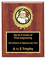 サンタクロースPlaque Awards 5 x 7木製クリスマスTrophy Holiday Trophies Free Engraving