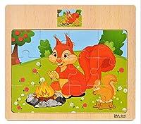 木製パズル、& # x2767; layhome 1pcジグソーパズルベビー学習おもちゃ( Squirrel )